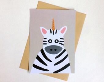 Unicorn Zebra postcard, 4.1''x5.8''