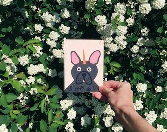 Unicorn French Bulldog postcard, 4.1''x5.8''