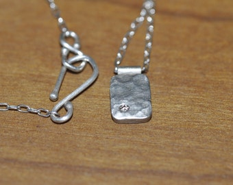 Hammered Sterling Silver Pendant with Champagne Diamond