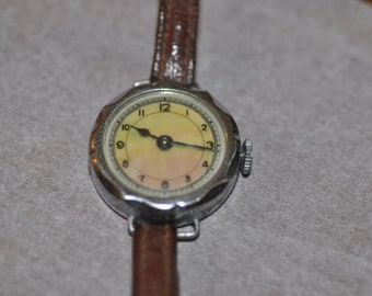 Vintage mother of pearl watch with leather strap