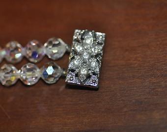 Vintage Crystal Double Strand Bracelet with AB coating