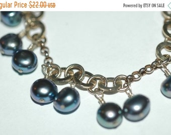 Spring Clear Out Sale Unique Sterling Bracelet with Varying Links and Pearl Dangles