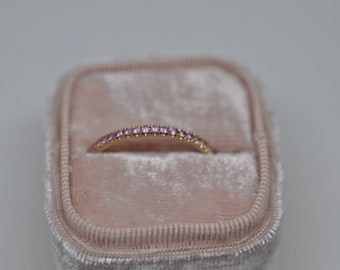 Pink Sapphire Eternity Ring 18K Rose Gold Size 9