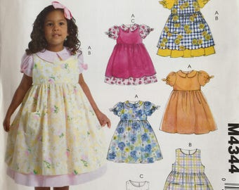 McCall's 4344 easy stitch n save uncut  toddler dress pinaform sewing pattern
