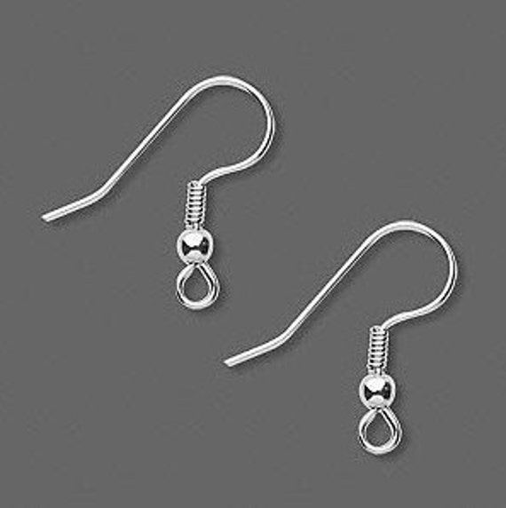 100 Silver Plated Surgical Steel Fishhook Earwire Coil /& Ball Earrings