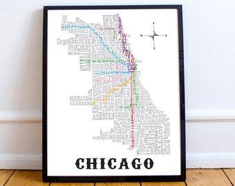 Chicago Subway Map Etsy