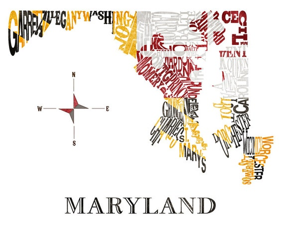 Maryland Counties map with antique flag 11x14in Print