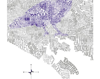 Baltimore Neighborhood map with Raven 11x14in print