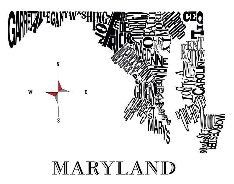 Poster Maryland Counties Map