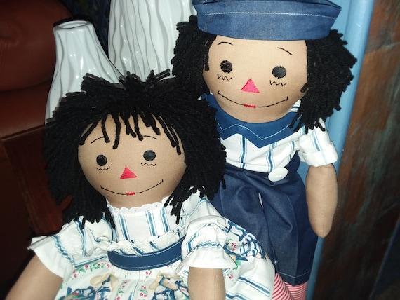 20 Ebony-Hand Crafted Classic Cloth Raggedy Ann Doll with Black Hair