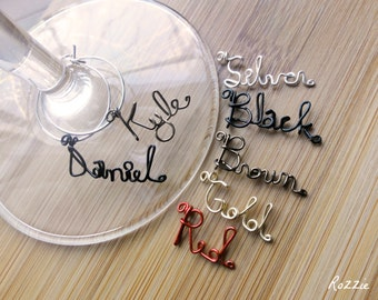 Personalized Wine Charms - Set of 13, Wine Party Favors, Hostess Gift