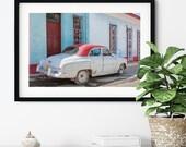 Vintage Cuban car photograph Trinidad Cuba retro home decor gift for him dad boyfriend fine art photo travel photography big print