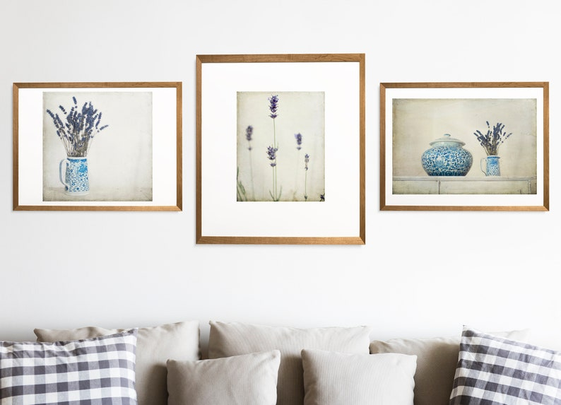 Lavender in Blue and White Jug shabby chic rustic French country style photography print wall home decor floral art7x7 12x12 18x18 22x22