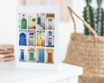 Doors montage collection travel photography  Morocco Greece Sicily stationery note card blank inside photograph greetings card