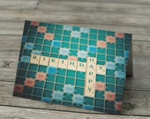 Birthday Card Scrabble Tiles notecard board game, Happy Birthday stationery, note card still life, blank inside, boardgames geeky