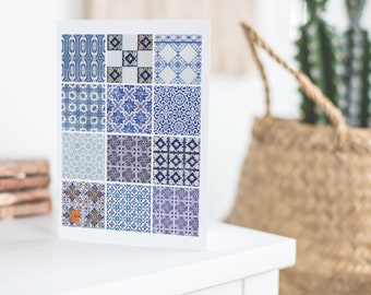 Blue Azulejos tiles Porto Portugal geometric design montage traditional stationery note card blank inside photograph greetings card
