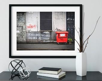 Manchester graffiti Bill Shankly quote saying street photography travel city urban UK wall art home decor big print poster art photo 20x30