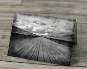 Black and white photo notecard Clevedon Pier blank inside seaside dramatic greetings card outside photograph monochrome