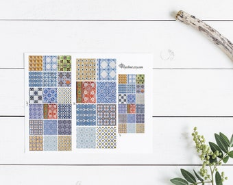 Azulejos tiles Portugal Porto pattern abstract blue white red yellow digital collage sheet 2 inch square instant download pdf jpg