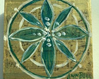 Gift. Mandala for Regeneration.  4 x 4 Original acrylic painting, art, original art on canvas, one of a kind, wall art