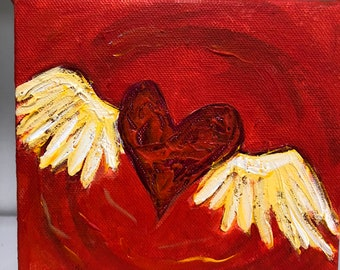 Gift, Red Winged Heart, Flirty Heart, 6 x 6 inch Original acrylic painting with bright colors and texture