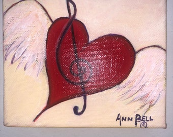 Original Art, 4 x 5 inch Acrylic Painting on Stretched Canvas, Red Heart, Treble Clef, Wedding gift. Anniversary gift.  Birthday gift.