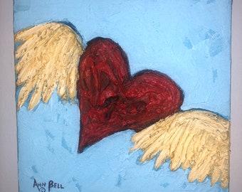 Gift, Winged Red Heart, 6 x 6 Original Art, Acrylic Painting, Wedding Gift, Anniversary Gift, Birthday Gift, Friend Gift