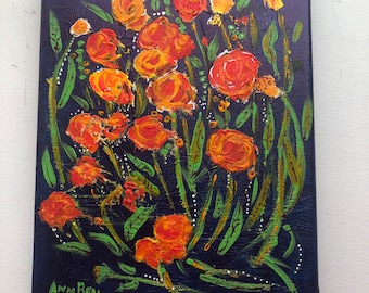 Garden, Fresh Flowers Growing, Original Art, Acrylic Painting on 8 x10 inch stretched canvas, Gift, yellow, Orange, Green