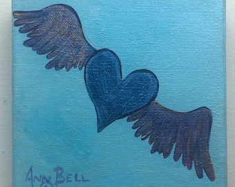 Iridescent Lavender Winged Heart on Light Blue Background, Original Acrylic Painting on 5 x 5 inch Stretched Canvas, Gift for one you love