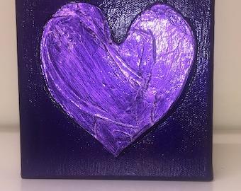 Gold Leaf Heart on Purple,  5 x 5 inch, Gift. Original Art, Acrylic Painting, Wedding Gift. Anniversary Gift. Valentine Gift. Birthday Gift