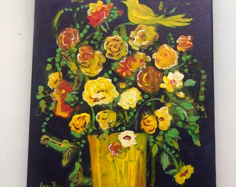 Fresh Flowers in vase, Original Art, Acrylic Painting on 8 x10 inch stretched canvas, Gift, Wedding gift, Birthday giftyellow, Orange, Green