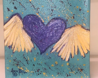 Original Art, Acrylic Painting on 6 x 6 inch Stretched Canvas, Gift, Wedding gift. Anniversary gift. Valentine gift. Birthday gift.
