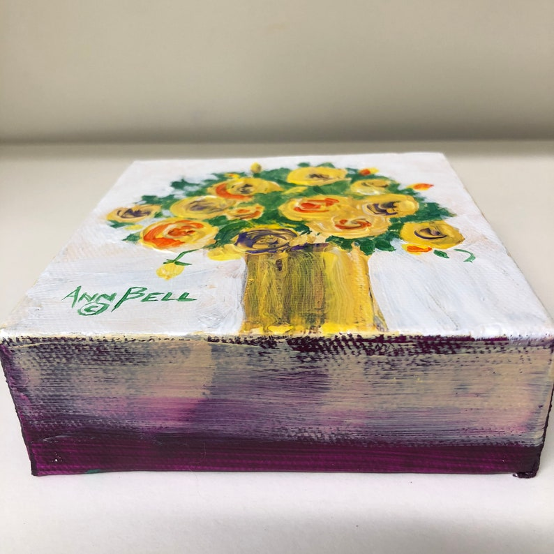 Original art Original Painting Original acrylic painting with bright colors and texture Flowers in green vase