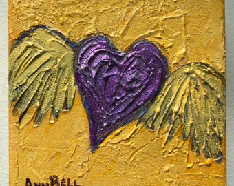Gift, Purple Winged Heart, 5 x 5 Original acrylic painting with bright colors and textures