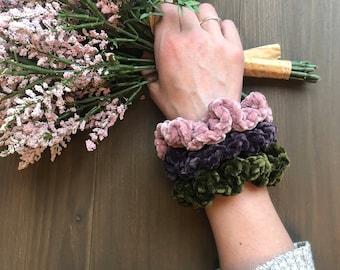 Velvet Crochet Scrunchies