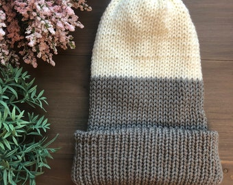 Dani Slouchy Beanie in Grey and Cream (reversible!)