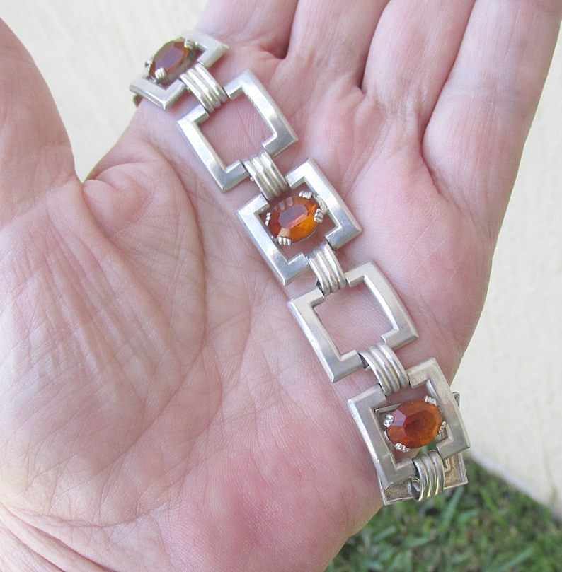 Vintage Sterling Silver Panel Link Bracelet Amber Colored Glass Facets w Safety Chain