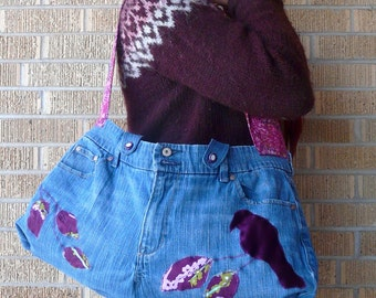 Upcycled Purse or Tote Denim Jeans with Bird on a Branch Plum Purple