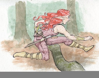 The Chase is On! - Original Art Watercolor Sketch of Comic Illustration