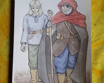 The Mentor - Original Art Watercolor Sketch of Comic Illustration