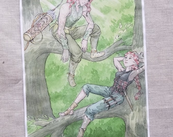 The Lovers - Original Art Watercolor Sketch of Comic Illustration