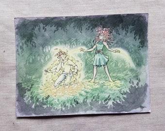 Making Leaf Armor - Original Art Watercolor Sketch of Comic Illustration