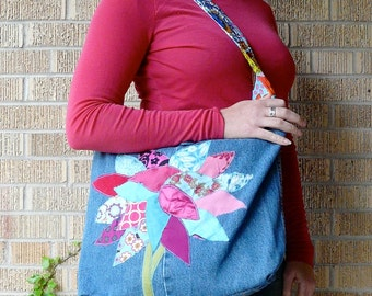 Upcycled Tote or Market Bag Spring Skies and Blossoms Tree Recycled Purse