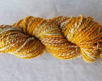 Handspun Natural Yarn - Sunset - Handspun from hand dyed Corriedale wool - Glorious autumnal golds