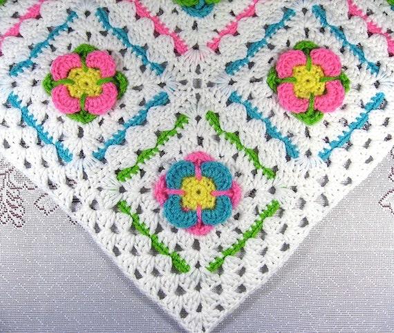 Pdf Pattern Crocheted Baby Afghan Gerber Garden Car Seat Baby Etsy