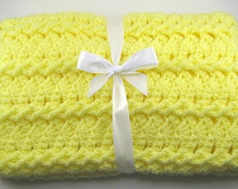 PDF Pattern Crocheted Baby Afghan, CAR SEAT Size and Newborn Size Blanket -- Lemon Twist
