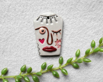 Spirit Face Pendant in Polymer Clay Looking at You