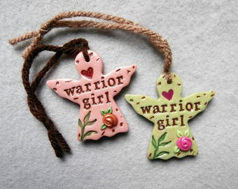 Warrior Angel Charms/Holiday Gift Tag Charms/Warrior Angel Pendants - Set of 2 - Warrior Girl