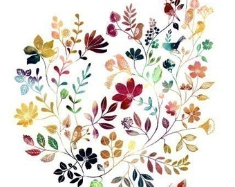 "Watercolor Illustration Painting Print of birds and flowers title ""Wild Garden (kaleidoscopic)"""