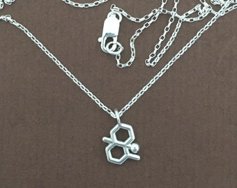 tiny geosmin (petrichor molecule) necklace in solid sterling silver